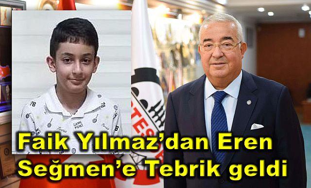 LGS şampiyonu Altın Çocuk Eren Seğmen'e Faik Yılmaz'dan tebrik geldi.