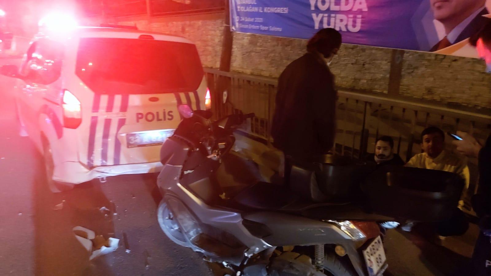 Güngören'de Polis otosuna Motosiklet çarptı 1 kişi yaralı